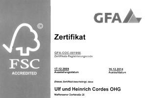 Urkunde FSC-Zertifizierung