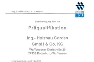 Bescheinigung Präqualifikation Nr. 010.045990
