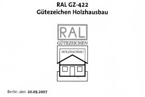Urkunde RAL GZ-422 Holzhausbau