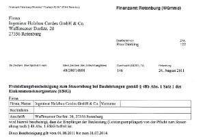 Cordes Bau - Freistellungsbescheinigungen / Bescheinigung BG Bau + Soka